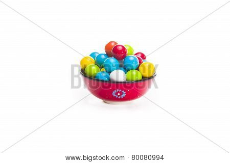 Gumballs In A Red Bowl