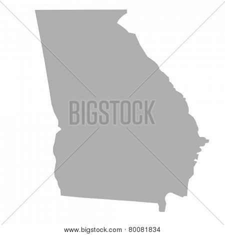 Georgia State map isolated on a white background, USA.