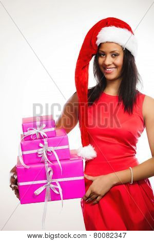 Woman Santa Helper Hat Holds Gift Boxes