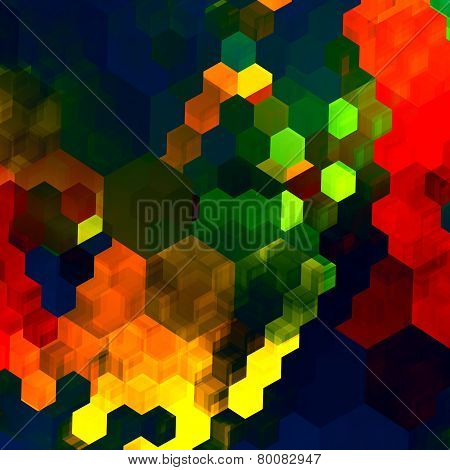 Mosaic abstract background. Red green blue colorful chaotic pattern. Color palette. Graphic art.