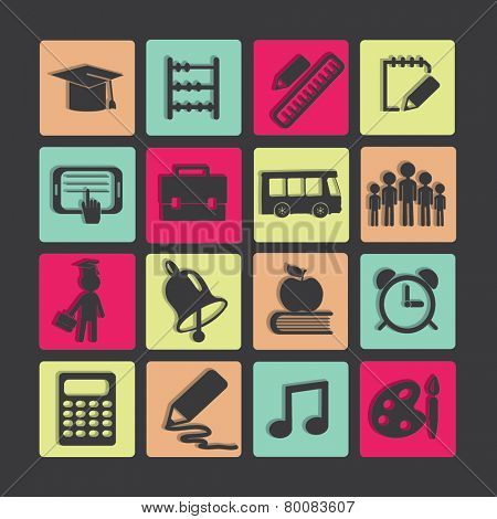 Education icons set.  Vector illustration