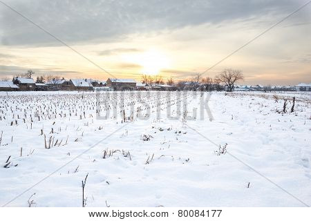 Rural Village Home In Winter Time