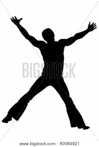 Silhouette of a man gymnast on a white background