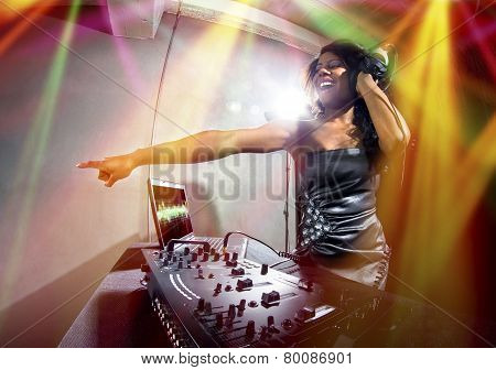 Female DJ with Computer Display