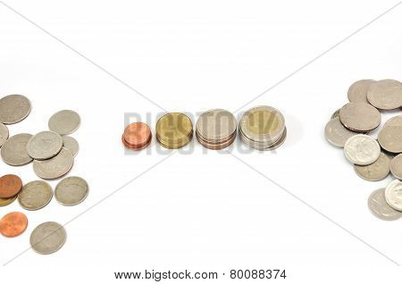 Thai Coins Baht On White Background