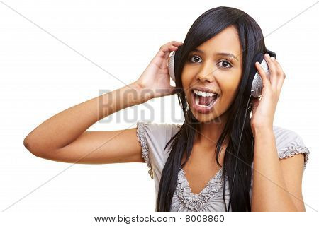 Singing African Woman With Headphones