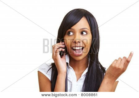 African Woman Using Her Cell Phone