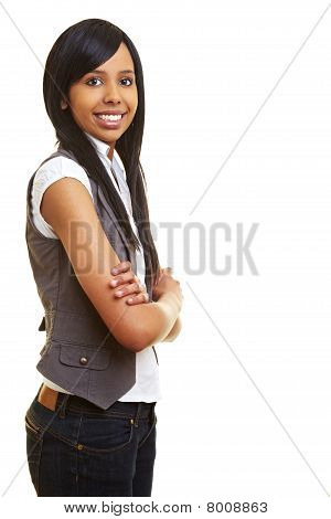 Smiling African Teen With Arms Crossed