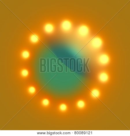 Abstract circular futuristic background. Electric lighting effect. Glowing yellow light bulbs.