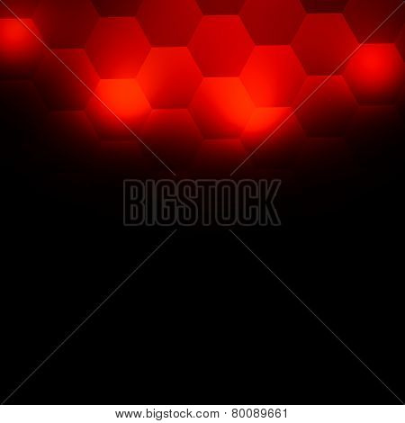 Abstract red background. Geometric hexagonal illustration design. Modern xmas greeting card.