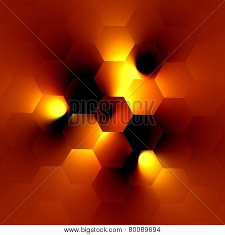 Electric lighting effect. Glowing light bulb on orange background. Modern illustration design.