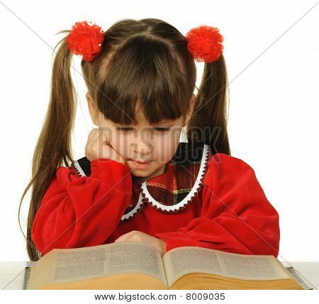 The Little Girl Before The Big Scientific Book