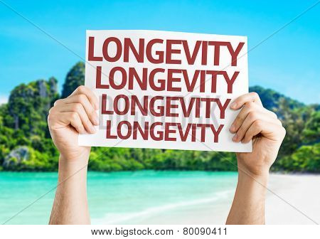 Longevity card with a beach on background