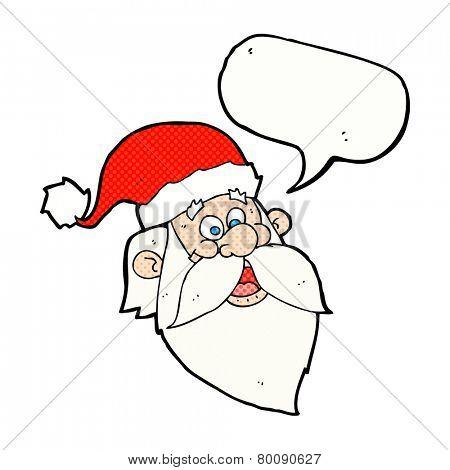 cartoon jolly santa claus face with speech bubble