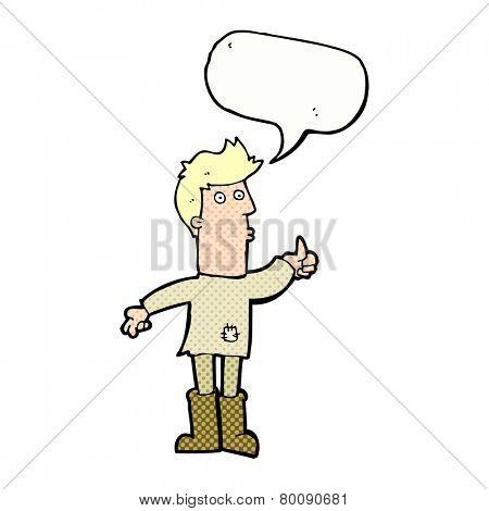 cartoon poor man with speech bubble