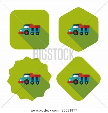 Dump Truck Flat Icon With Long Shadow,