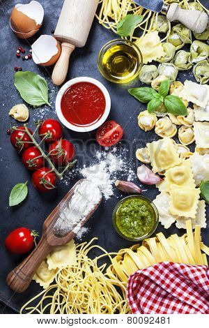Italian food - Fresh Pasta with sauces and ingredients