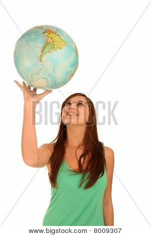 Gorgeous Brunette Lady With World Globe