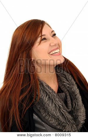 Pretty Laughing Brunette Woman