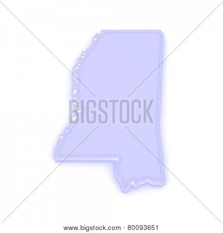 Three-dimensional map of Mississippi. USA. 3d