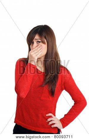 Girl In Red With Smelly Gesture
