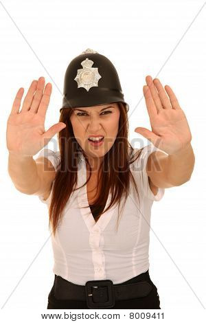 Pretty Policewoman With Angry Look