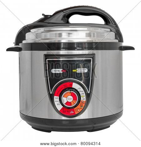 Electric pressure cooker isolated on a white background