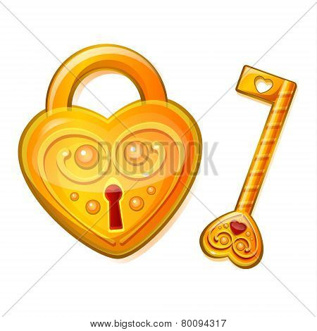 Golden lock in the shape of heart