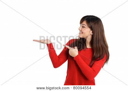 Woman Pointing Product