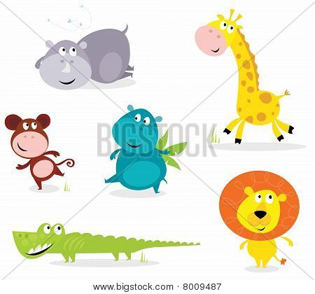 Six cute safari animals - giraffe, croc, rhino, hippo, lion, monkey