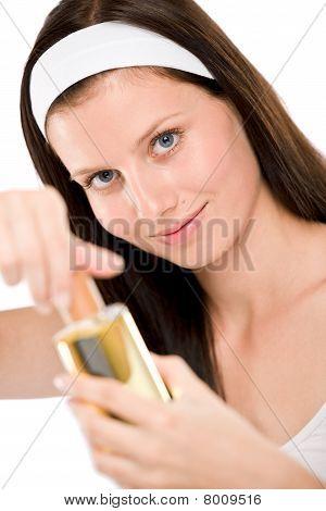 Beautiful Woman Holding Perfume