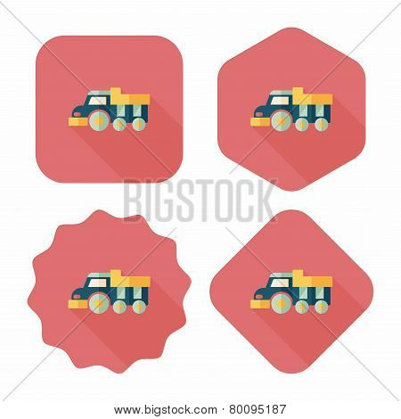 Dump Truck Flat Icon With Long Shadow,eps10