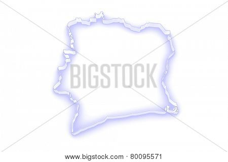 Map of Cote d'Ivoire. 3d