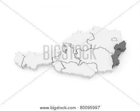 Map of Burgenland. Austria. 3d
