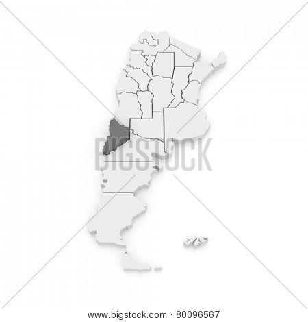 Map of Neuquen. Argentina. 3d