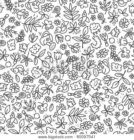 Seamless background with garden elements, tools, plants, flowers. Hand drawn doodles. Black outline on white background.