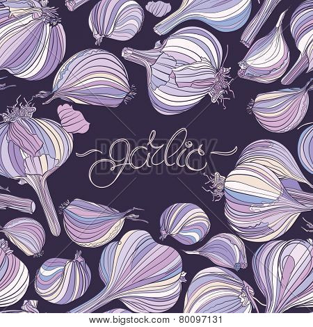 Seamless pattern - garlic, different garlic bulbs on dark purple background. Hand drawing.