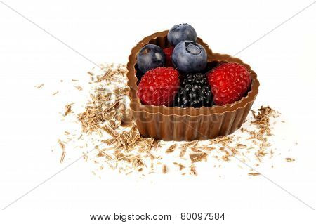 Chocolate heart with fresh berries