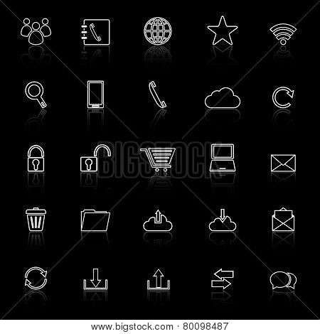 Communication Line Icons With Reflect On Black Background