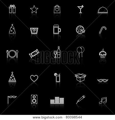 Party Line Icons With Reflect On Black Background