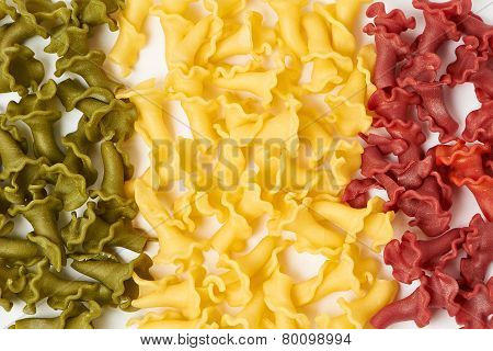 Italian Flag Made From Color Pasta