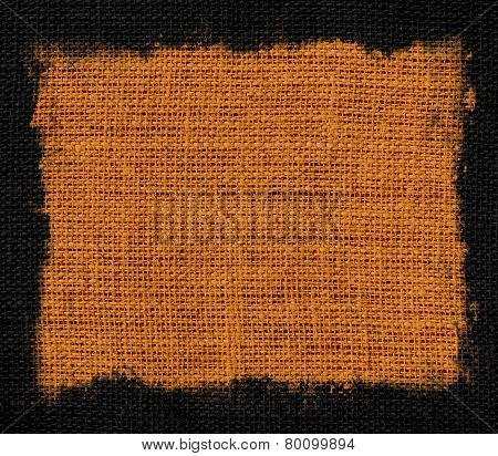 burlap jute fabric canvas background with black frame