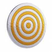 image of projectile  - 3d render of golden royal target isolated on white background - JPG