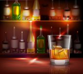 picture of whiskey  - Bar counter realistic background with glass of whiskey in front vector illustration - JPG