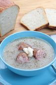 foto of fermentation  - Soup made from fermented rye flour with egg and sausage traditional polish - JPG