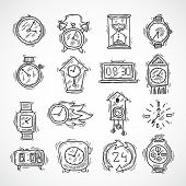 image of analog clock  - Clock sketch icons set with stopwatch alarm wall and sand clock isolated vector illustration - JPG