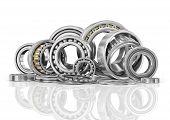 picture of ball bearing  - Set of steel ball bearings in closeup - JPG