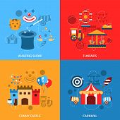 stock photo of funfair  - Amusements park flat icons set with amazing show funfairs funny castle carnival isolated vector illustration - JPG