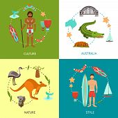 pic of drum-set  - Australia design concept set with culture nature style flat icons set isolated vector illustration - JPG