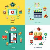 foto of production  - Cinema production flat design concepts set with movie premiere  icons isolated vector illustration - JPG